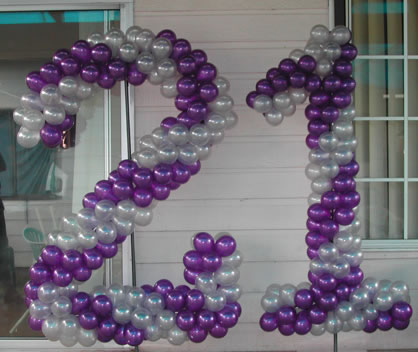 Sculptured 21st Balloon Numbers