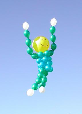 Smiley Face Man Big Balloons
