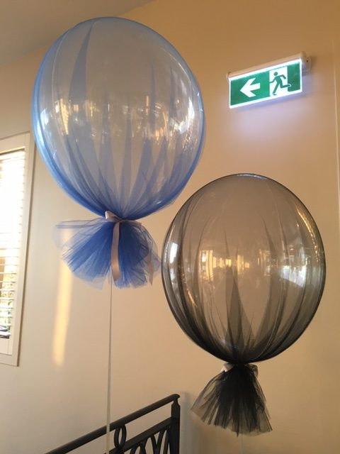 Black and Blue Tulle Bubbles